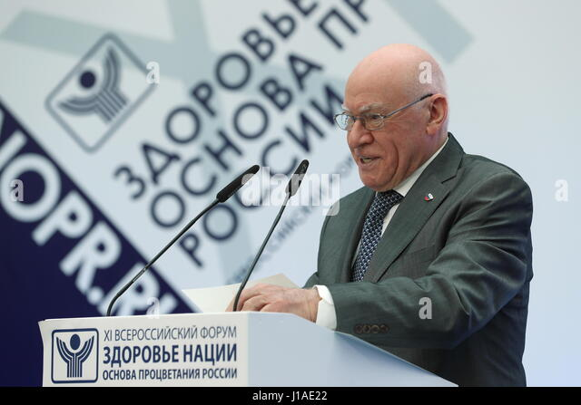 Moscow, Russia. 19th Apr, 2017. Head of Bakulev Scientific Center for Cardiovascular Surgery Leo Bokeria speaks - Stock Image