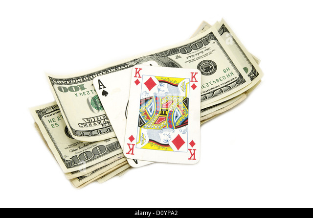 Dollars and playing cards - Stock Image