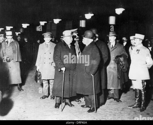 Lloyd George, Clemenceau and others during WW1 - Stock Image