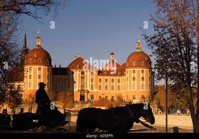 Moritzburg Palace near Dresden hunting lodge of Friedrich August II carriage - Stock Image