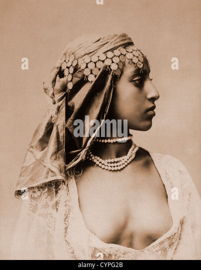 Egyptian Woman, Cairo, Egypt, Albumen Photograph, Circa 1870 - Stock-Bilder