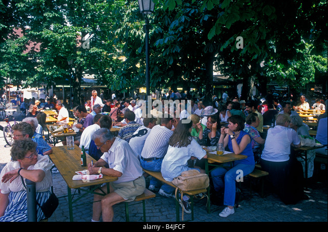 Beer Garden Viktualienmarkt Square Munich Stock Photos