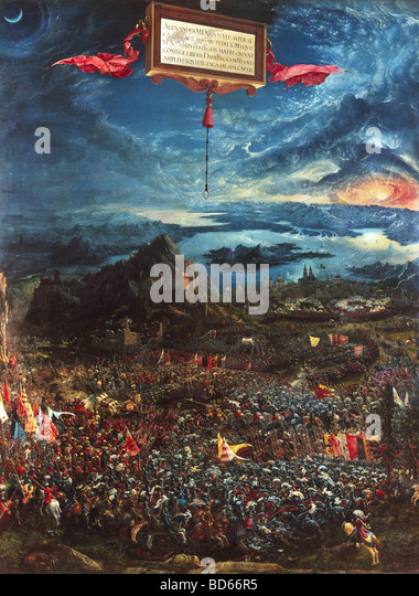 fine arts, Altdorfer, Albrecht (1480 - 1538), painting 'Alexanderschlacht', (Battle of Alexander the Great), - Stock Image