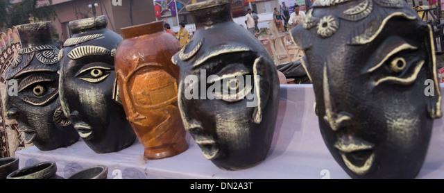 Handicraft of earthen decorative water vases . - Stock Image