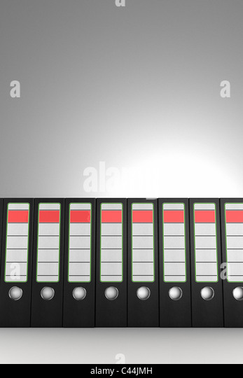 A row of ring binders - Stock Image