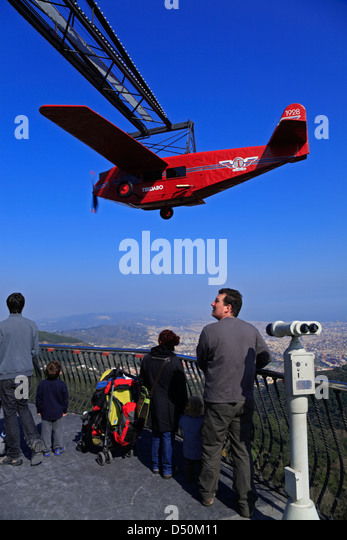 Tibidabo amusement park on mountain Tibidabo,  nostalgic red plane ride simulator Avio from 1928, Barcelona, Spain - Stock-Bilder