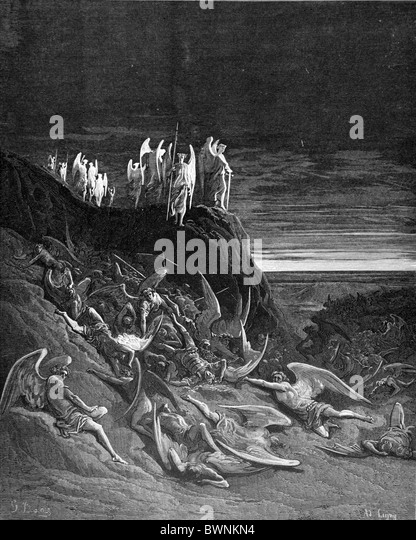 Gustave Doré; The War in Heaven John Milton's Paradise Lost; Black and White Engraving - Stock Image