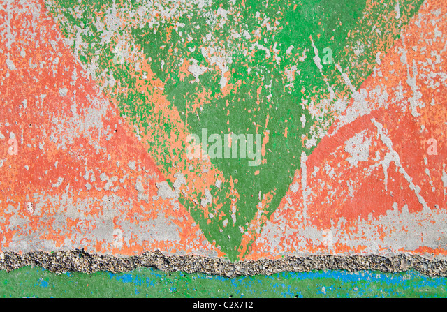 Distressed Paint On Concrete Wall - Stock-Bilder