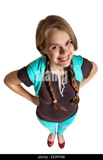 smiling girl from above on the white background - Stock Image