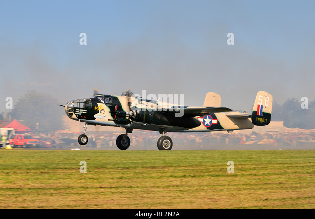 North American Aviation B-25 Mitchell, an American twin-engine medium bomber, Europe's largest meeting of vintage - Stock Image