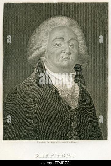 Comte de Mirabeau, circa 1850 - Stock-Bilder
