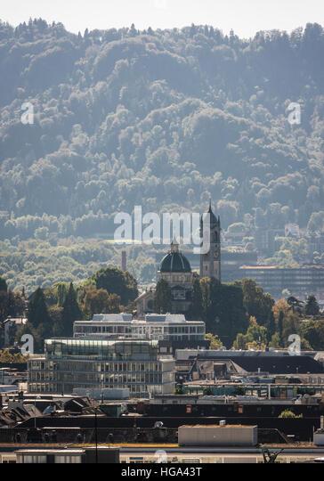 Medieval church 'Enge' in Zurich, Switzerland, also called 'Sacre Coeur of Zurich'. - Stock Image