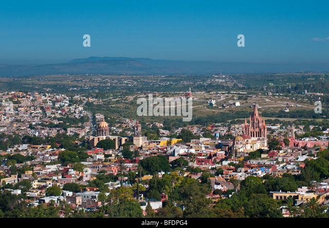 Overview of the city of San Miguel de Allende, Guanajuato, Mexico. - Stock Image