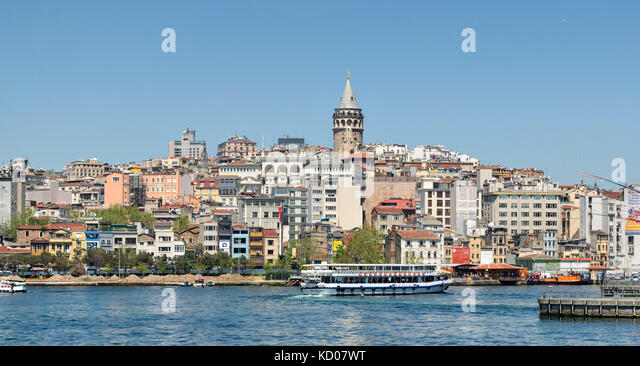 Istanbul, Turkey - April 25, 2017: City view of Istanbul from the sea overlooking Galata Tower - Stock Image