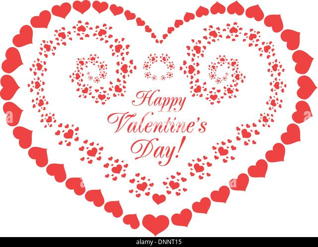 Valentine's day vector background with hearts on white - Stock Image