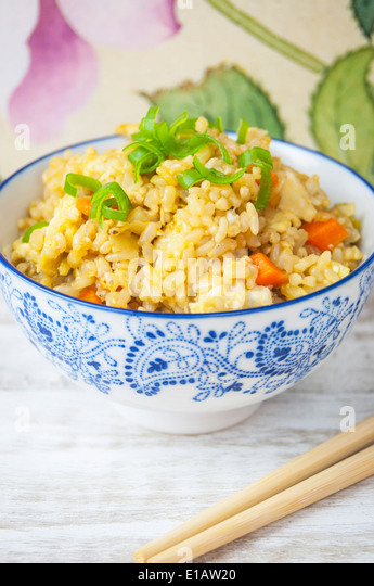 A Close Up View of Vegetable Fried Rice - Stock Image