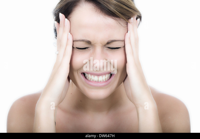 Attractive Angry Tense Young Woman - Stock Image