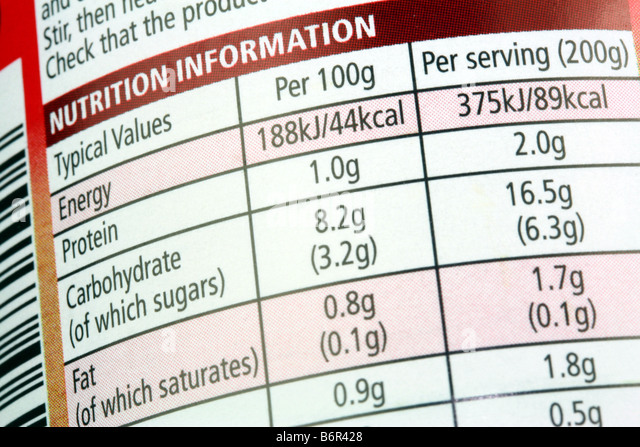 Nutrition Information printed on packaging label of tinned food - Stock Image