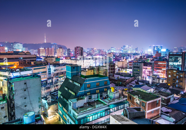 Seoul, South Korea with Seoul Tower in the distance - Stock Image