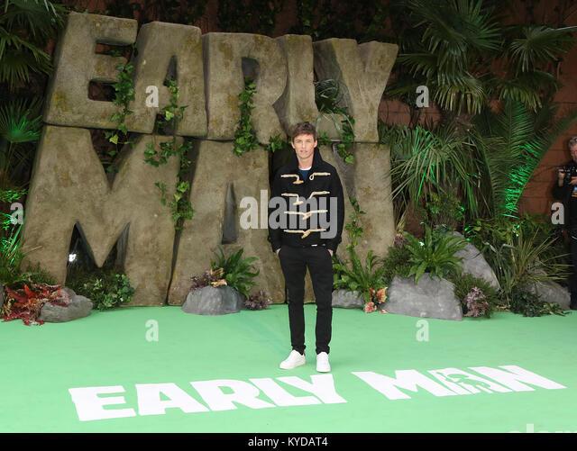 London, UK. 14th January, 2018. Eddie Redmayne, Early Man - World premiere, BFI IMAX, London UK, 14 January 2018, - Stock Image