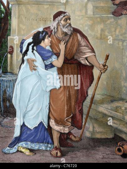 Oedipus. Hero of Greek mythology.  Oedipus and Antigone. Engraving by M. Weber. Colored. - Stock Image