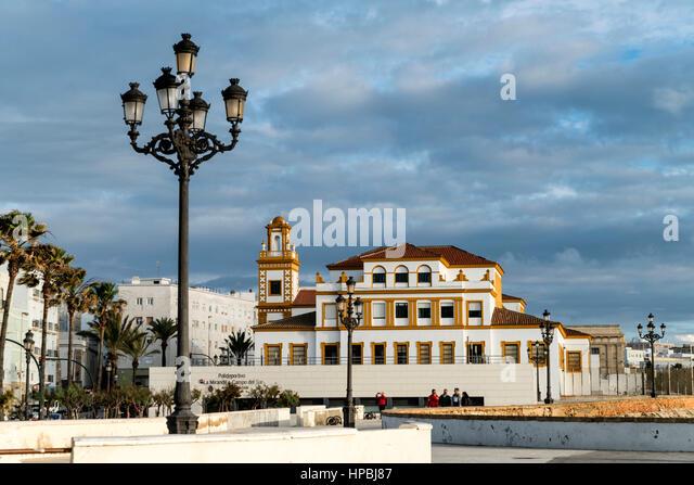 Promenade, Campo del Sur, La Mirandilla, sports center, Cadiz,  Andalucia, Spain, - Stock Image