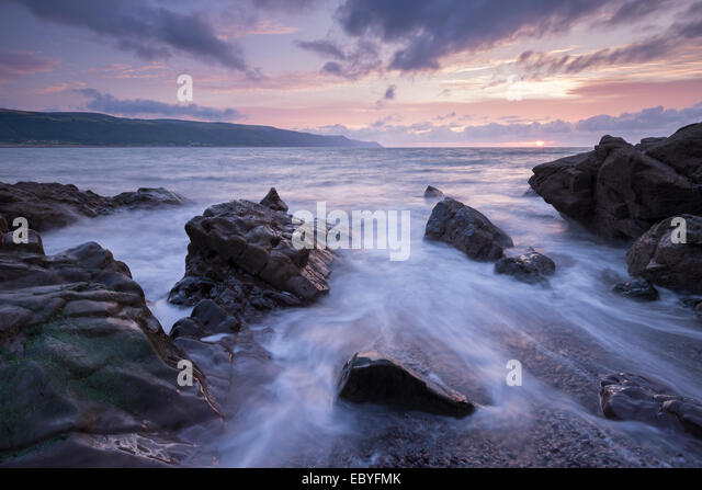Sunset over Porlock Bay, Exmoor National Park, Somerset, England. Summer (August) 2014. - Stock Image