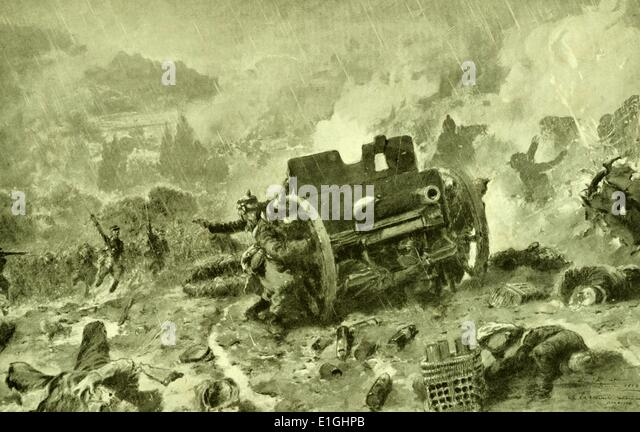 German artillery retreat during an attack by french forces in World War one - Stock Image