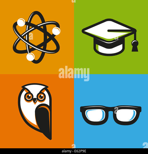 Education concepts in flat outline style - school and university icons and signs - Stock Image