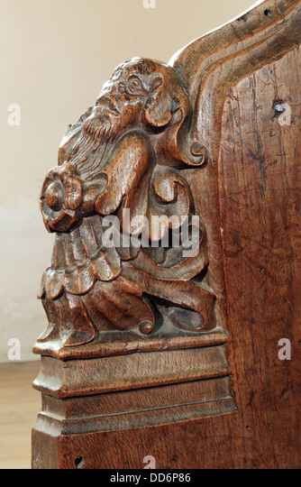 Medieval wooden carving stock photos