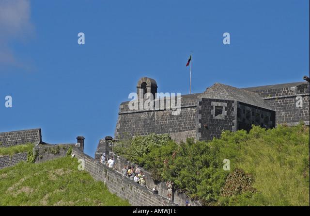St Kitts Brimstone Hill Fortress historic landmark tourist attraction - Stock Image
