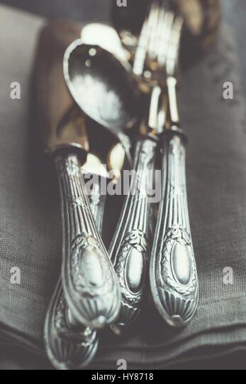 Vintage cutlery - Stock Image