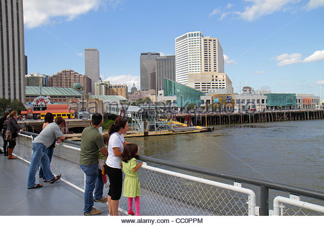 New Orleans Louisiana Mississippi River Canal Street Ferry Algiers CCCD ferryboat navigation public transportation - Stock Image