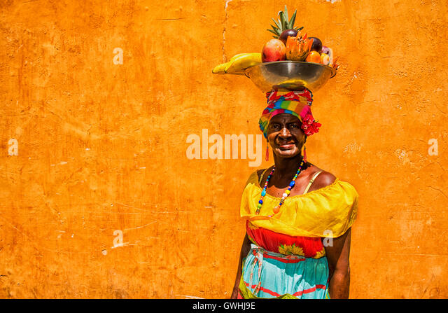 Cartagena de Indias, Colombia - February 23, 2014: Colombian woman wearing traditional clothes in Cartegena de Indias - Stock Image