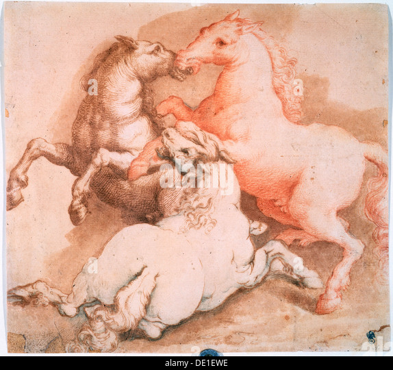 'Fighting Horses', c1550-1600. Artist: Unknown Old Master - Stock Image