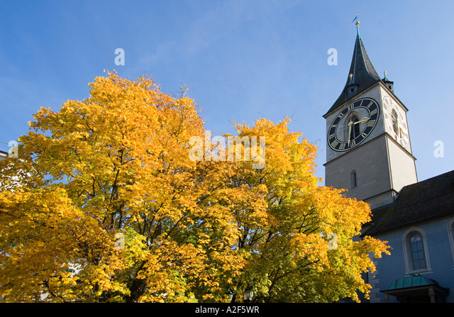 Switzerland Zuerich St Peterhofstatt St Peters church - Stock Image