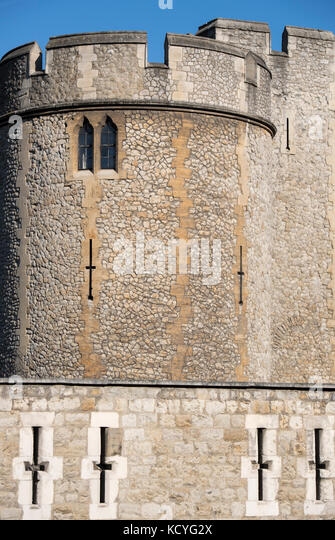 Detail of the Tower of London in London, England, UK - Stock Image
