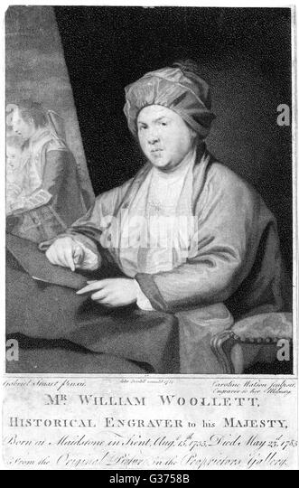 WILLIAM WOOLLETT Historical Engraver to His  Majesty        Date: 1735 - 1785 - Stock Image
