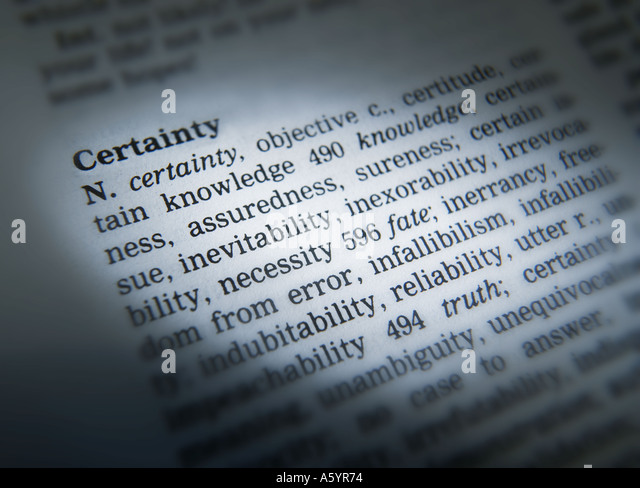 THESAURUS PAGE SHOWING DEFINITION OF WORD CERTAINTY - Stock Image
