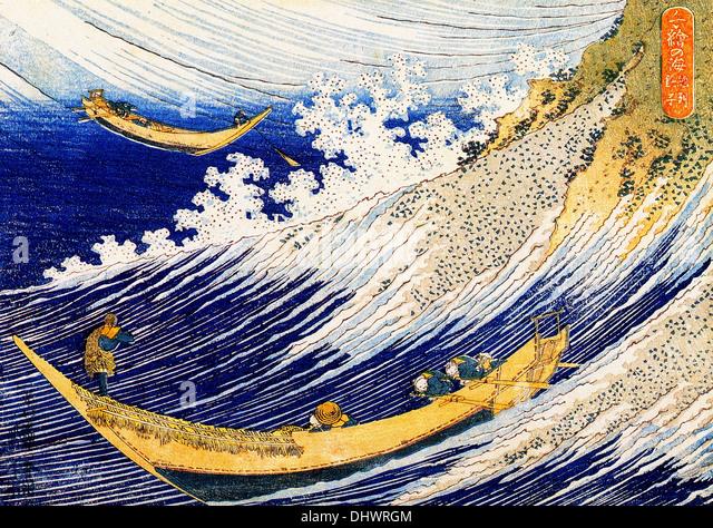 Ocean waves - by Katsushika Hokusai - Stock Image