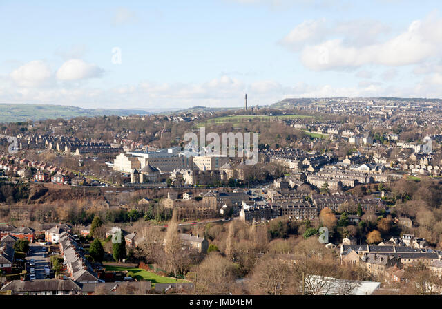 View of Halifax from Siddal, West Yorkshire - Stock Image