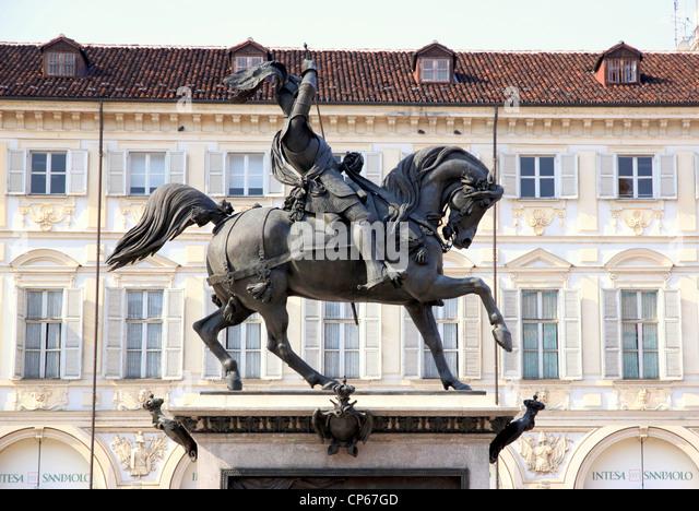 A bronze statue dedicated to Emanuele Filiberto in Piazza San Carlo, Turin, Italy - Stock Image