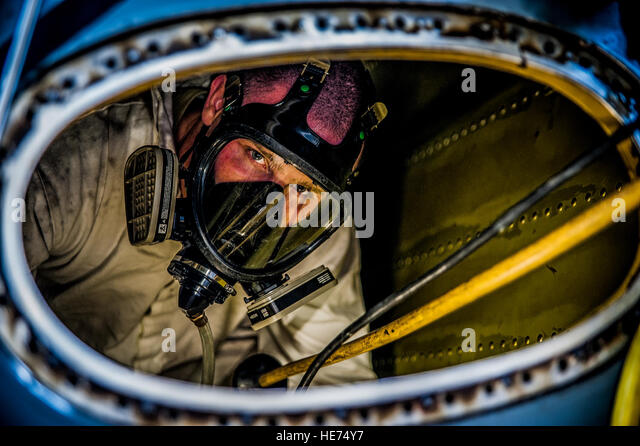 Airman 1st Class Nicholas McKinney, 437th Maintenance Squadron aircraft fuels systems apprentice, prepares to be - Stock Image