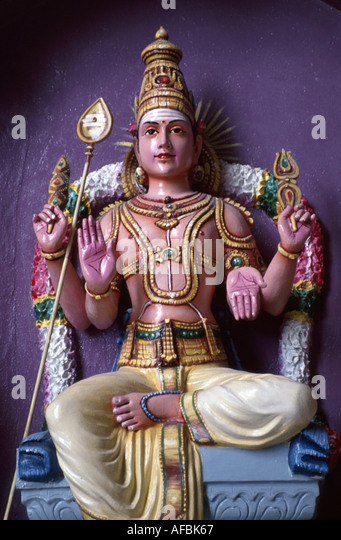 Malaysia Kuala Lumpur Batu Caves entrance Hindu deity statue religion - Stock Image