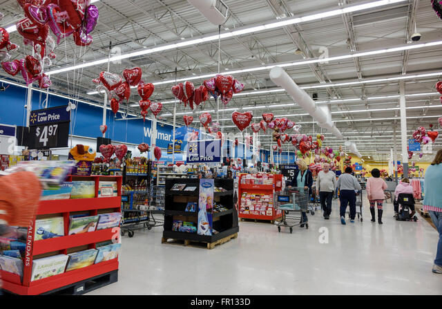 Florida FL New Port Richey Walmart discount department store inside shopping - Stock Image