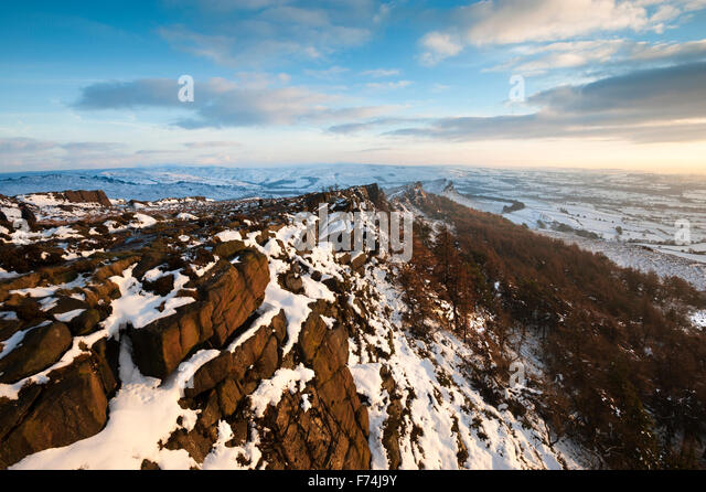 Dramatic skies in winter, The Roaches, Peak District National Park, Staffordshire. - Stock Image