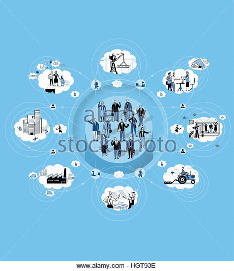 Cloud computing and wireless technology connecting financial advisers, people, homes, communities, business and - Stock-Bilder