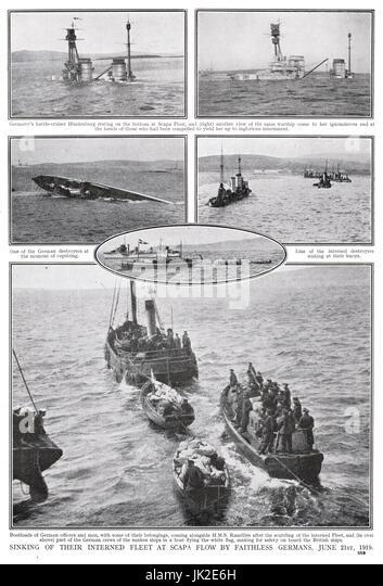 Scapa Flow, scuttling of High Seas fleet - Stock Image