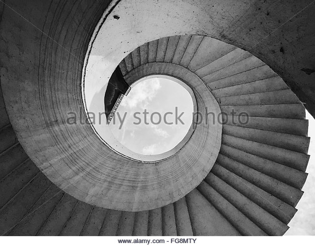 Digital Composite Image Of Spiral Staircase - Stock Image