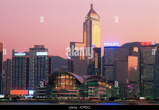China, Hong Kong, City Skyline and Victoria Harbour at Night - Stock Image